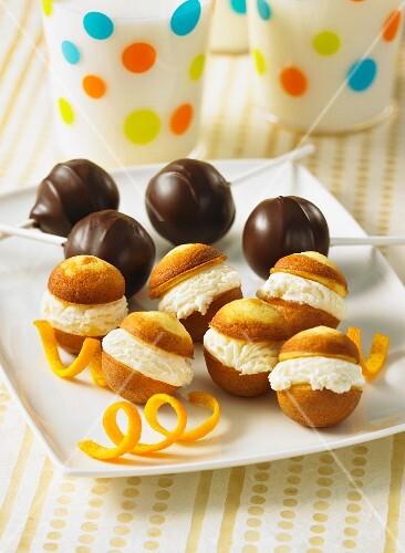 Cake pops with cherries and orange cream