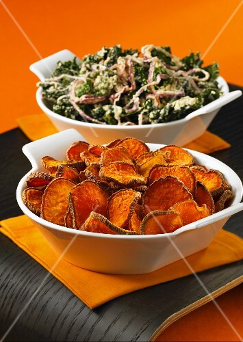 Sweet potato crisps and kale crisps