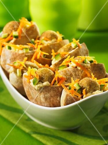 Pita breads filled with mini falafels