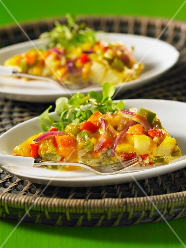 Potato tortilla with peppers and onions