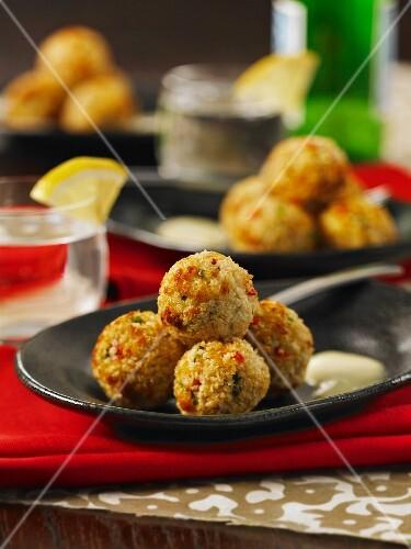 Crab balls with wasabi mayonnaise (Thailand)