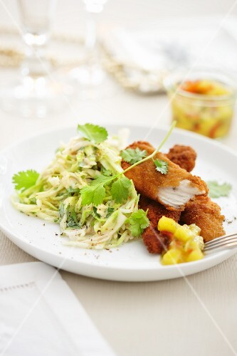Chicken goujons with coleslaw