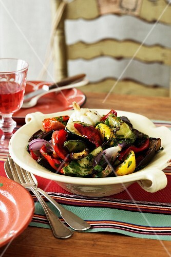 Roast Vegetable Salad - Red + Yellow Pepper, Eggplant, Onion, Garlic, Parsley