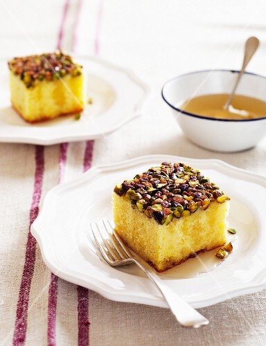 Pistachio Lemon Syrup Cake
