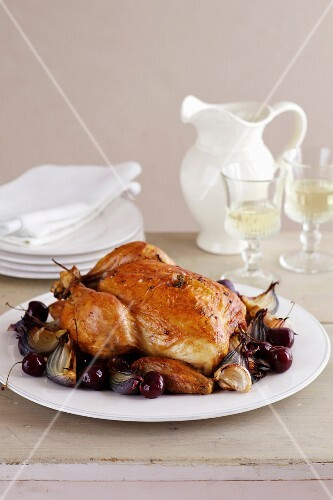 Roasted Chicken withCherries, Red Onions, Garlic, Thyme