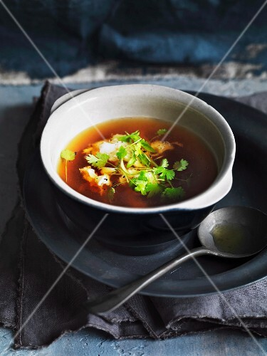 Shrimp and fennel consomme with herbs
