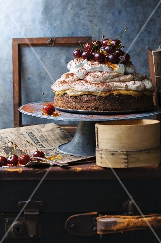 Chestnut mousse cake with caramel cherries