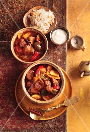 Turkish lamb and vegetable stew with chickpea rice
