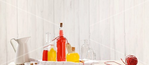 Assorted bottles of home-made cordial