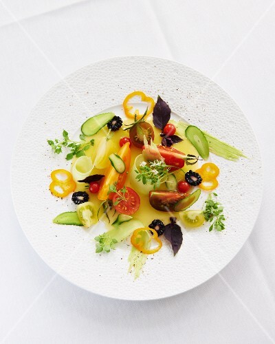 Vegetable salad with orange vinaigrette