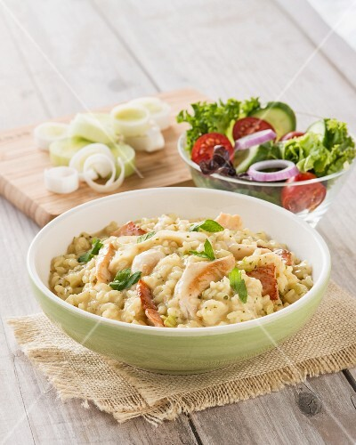 Risotto with chicken, bacon and leek