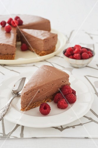 Chocolate mousse layer cake with raspberries