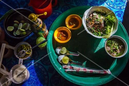A tray of soup, salad and dip (Kampot, Cambodia)