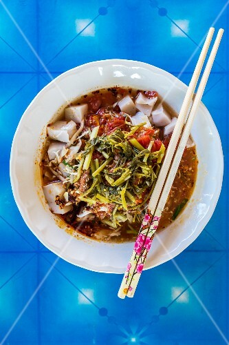 Vegetable stew with rice noodles (Mae Sai, Thailand)