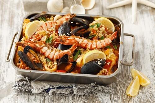 Zarzuela (seafood stew, Spain) in a roasting tin