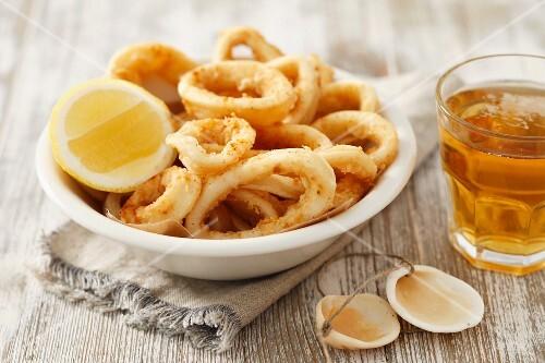 Deep-fried squid rings
