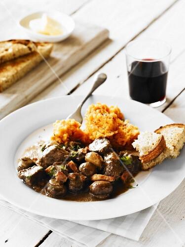 Beef Bourgignon with sweet potato mash