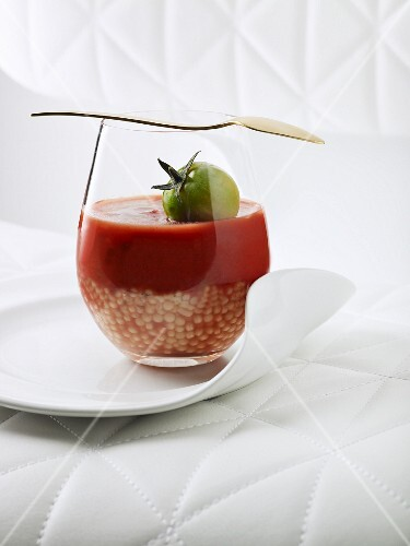 Pepper and tomato soup in a glass