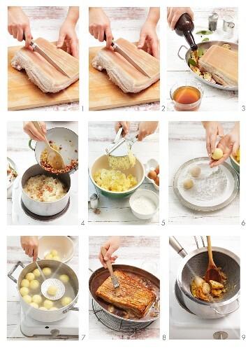 Pork belly with sauerkraut and potato dumplings being prepared