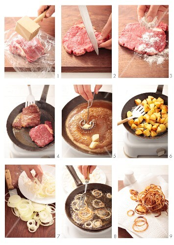 Making fried beef steak with fried onions