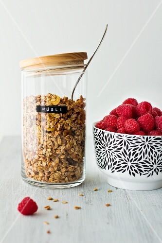 Granola and fresh raspberries