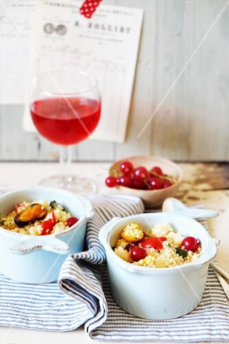 Tabbouleh with seafood and redcurrants