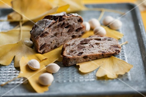 Fig bread and gingko nuts on gingko leaves