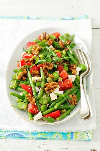 Green bean, broad bean, tomato and feta salad with rocket and walnuts