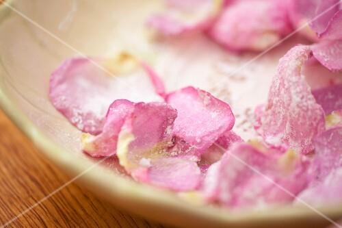 Rose petals in icing sugar