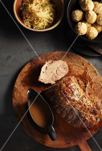 Roast pork with white cabbage and bread dumplings