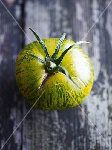 A green zebra tomato