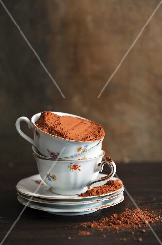 Cocoa powder in a floral teacup