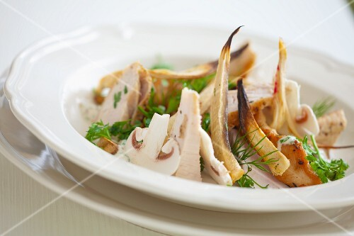 Fricassee of chicken breast with parsley root, mushrooms, parsley and fennel