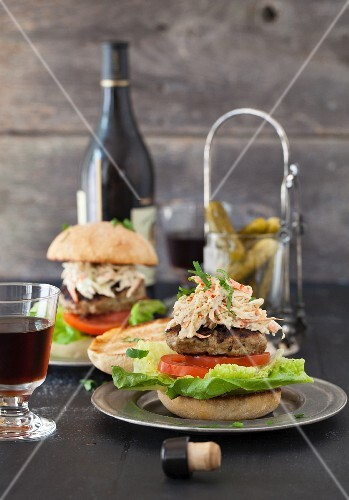 Turkey Burgers Topped with Cole Slaw