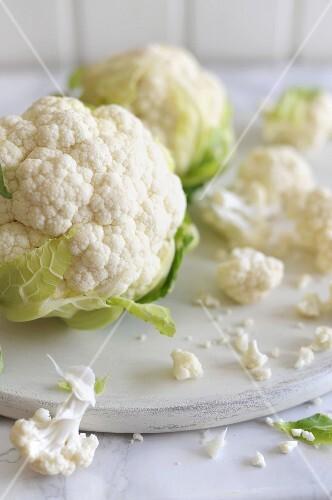 Cauliflower, whole and individual florets