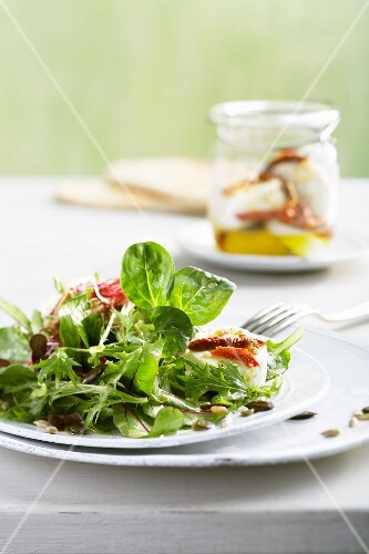 Lettuce leaves with edible shoots, seeds and preserved goat's cheese