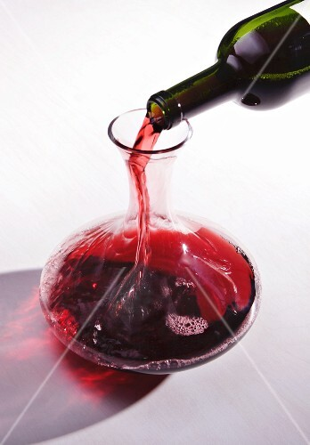 Red wine being decanted