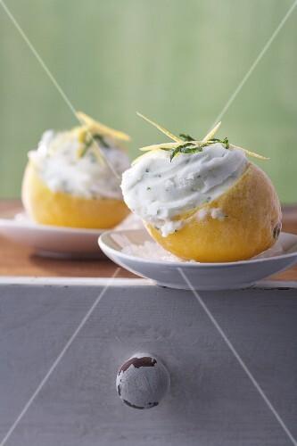 Lemon sorbet with mint