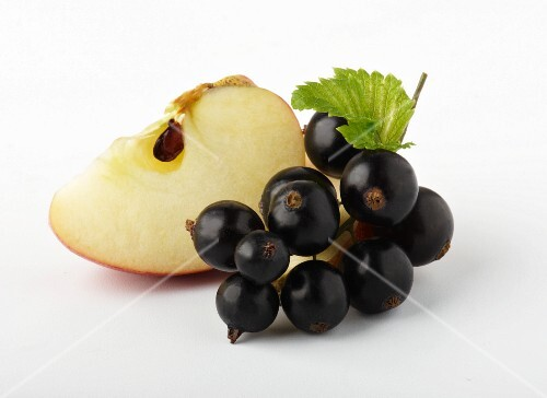 A wedge of apple and blackcurrants