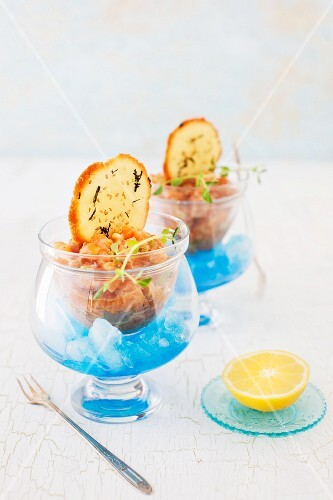 Salmon Tartare with Sesame Crackers on Blue Ice