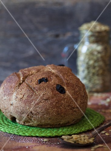 Loaf of Rye Bread with Dried Cherries