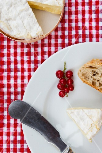 Camembert with baguette and redcurrants (view from above)