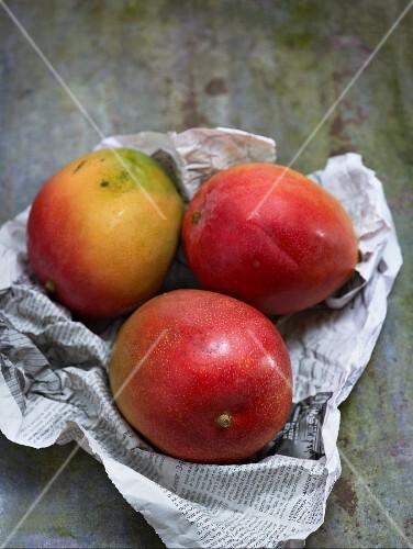 Three mangos on newspaper