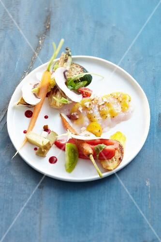 Sashimi and vegetables