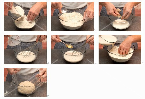 Preparing dough to make crusty bread