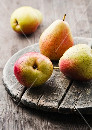 Pears on a wooden board