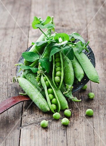 Fresh pea pods on a draining spoon