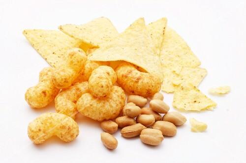 Tortilla chips, peanut flips and peanuts