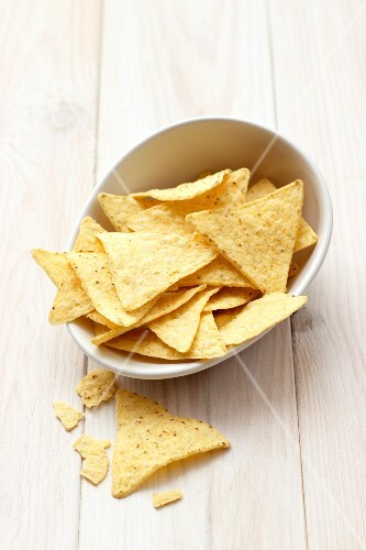 Tortilla chips in a small bowl