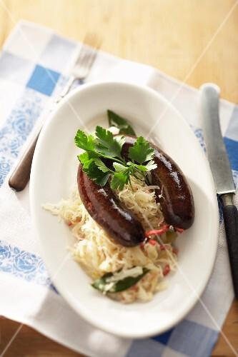 Blood sausage with sauerkraut